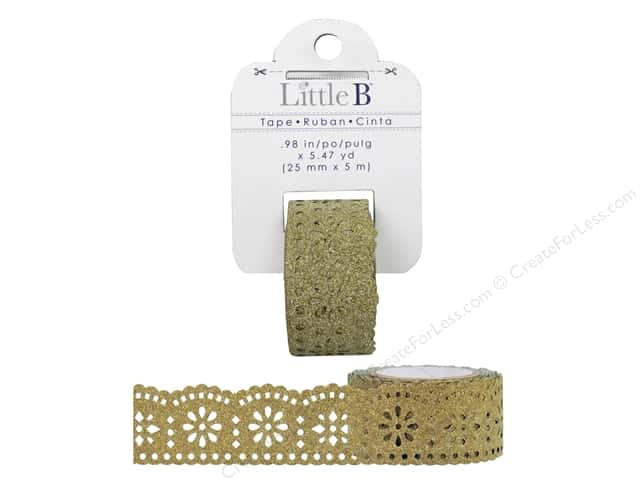 Little B Decorative Paper Tape 1 in. Gold Glitter Lace
