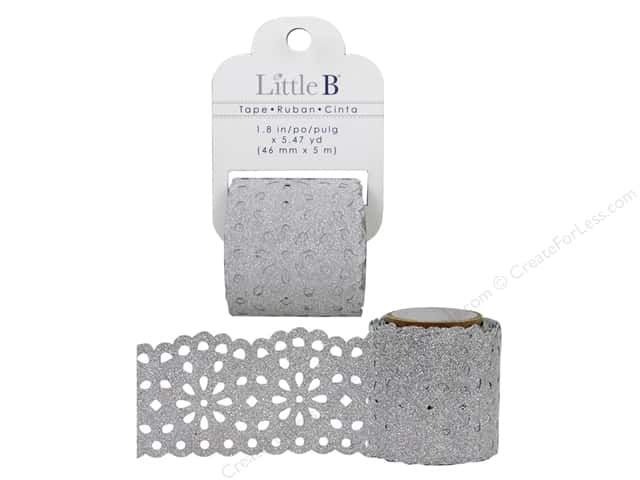 Little B Decorative Paper Tape 1 3/4 in. Lace Silver Glitter