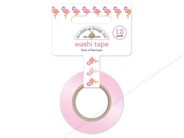 Doodlebug Washi Tape 5/8 in. x 12 yd. Fun In The Sun Flock Of Flamingos
