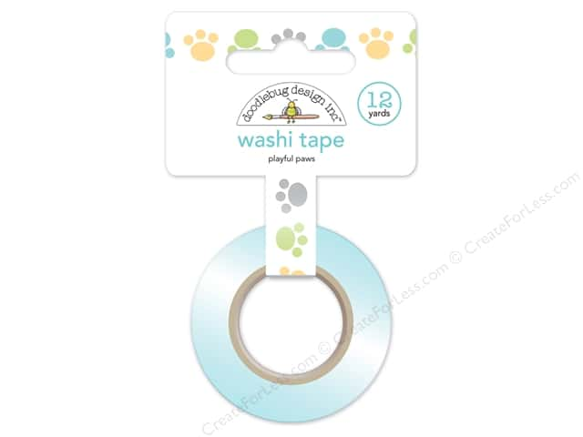 Doodlebug Washi Tape 5/8 in. x 12 yd. Kitten Smitten Playful Paws