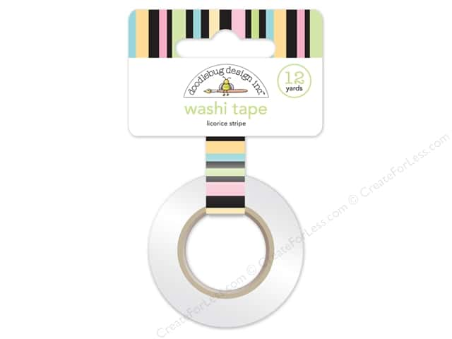 Doodlebug Washi Tape 5/8 in. x 12 yd. Kitten Smitten Licorice Stripe