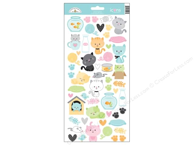Doodlebug Sticker Kitten Smitten Icons (12 sets)