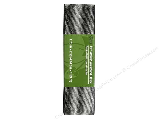 Dritz Metallic Waistband Elastic 1 3/4 in. x 2 yd. Black & Silver