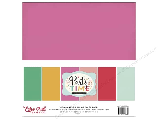 Echo Park 12 x 12 in. Paper Pack Party Time Coordinating Solids
