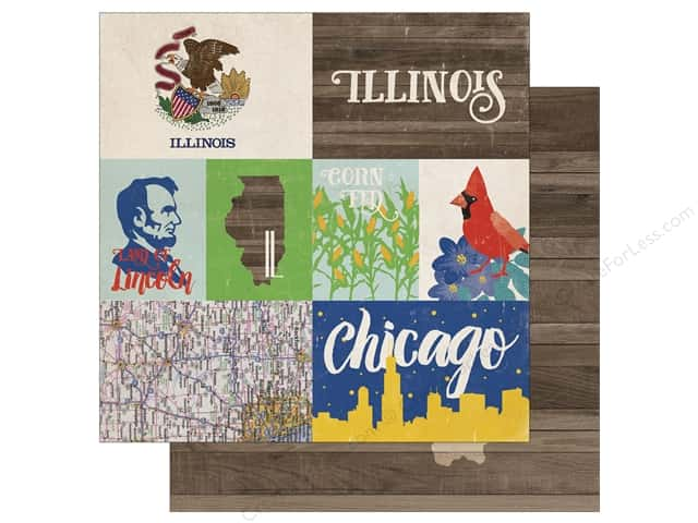 Echo Park 12 x 12 in. Paper Stateside Illinois (25 sheets)