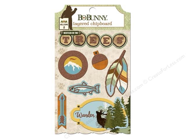 Bo Bunny Layered Chipboard Stickers Take A Hike