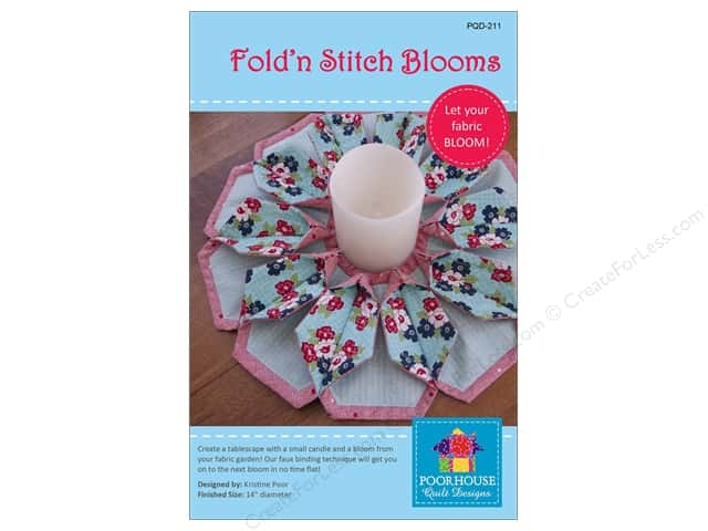 Poorhouse Quilt Designs Fold'n Stitch Blooms Pattern
