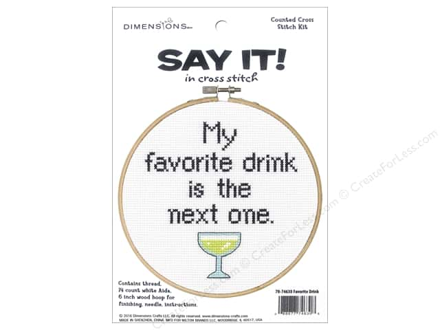 Dimensions Cross Stitch Kit Say It! Favorite Drink