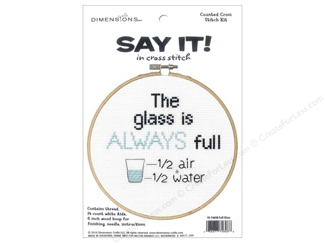 Dimensions Cross Stitch Kit Say It! Full Glass