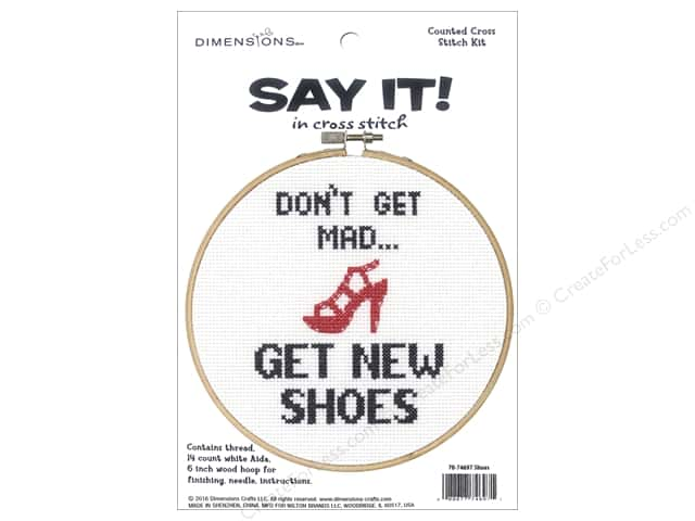 Dimensions Counted Cross Stitch Kit 6 in. Say It! Shoes