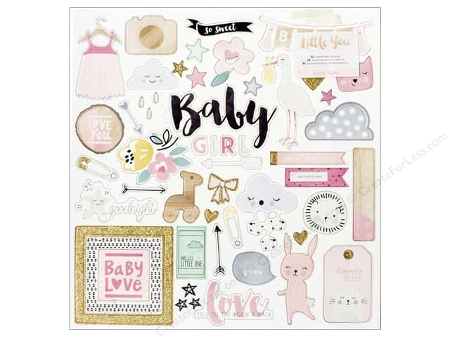 Crate Paper Collection Little You Chipboard Glitter Gold