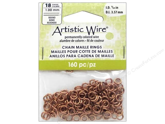 Artistic Wire Chain Maille Jump Rings 18 ga. 9/64 in. Natural 160 pc.