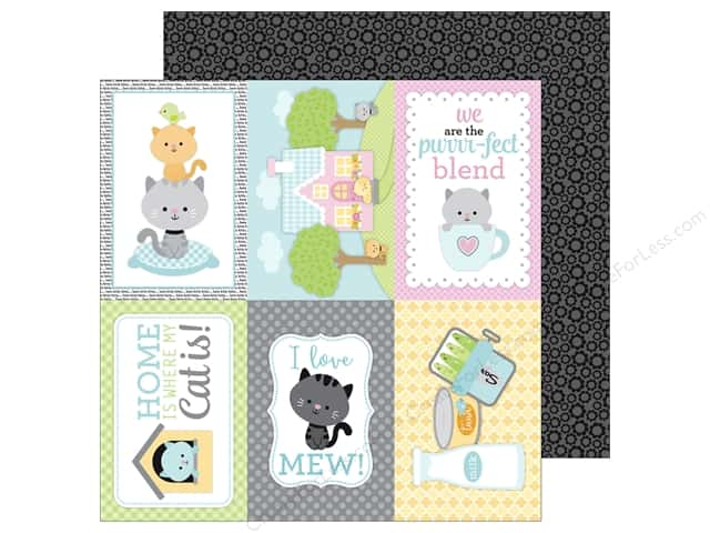 Doodlebug 12 x 12 in. Paper Kitten Smitten Black Blossoms (25 sheets)