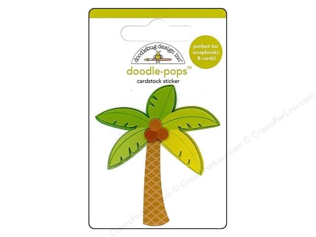 Doodlebug Doodle-Pops 3-D Stickers Fun In The Sun Paradise Palm