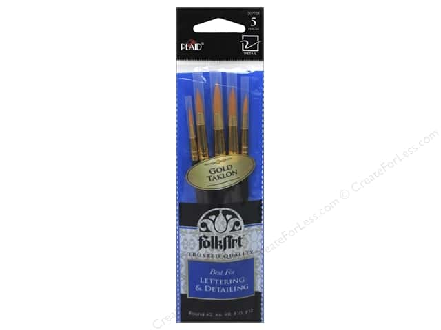Plaid Tools FolkArt Brush Set Lettering & Detailing 5pc