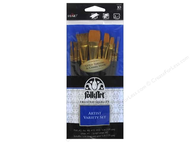 Plaid Tools FolkArt Brush Set Artist Variety 10pc