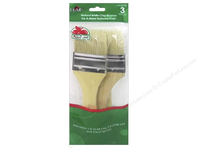 Plaid Tools Apple Barrel Chip Brush Set Natural Bristle 3 pc