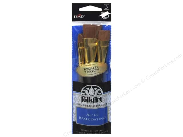Plaid Tools FolkArt Brush Set Bronze Taklon 3pc