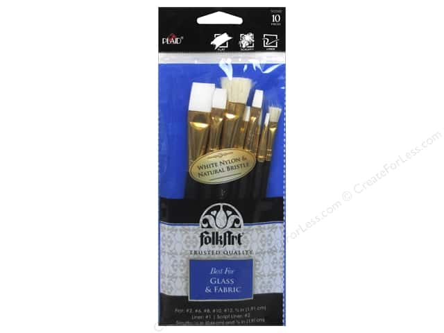 Plaid Tools FolkArt Brush Set Glass & Fabric 10pc