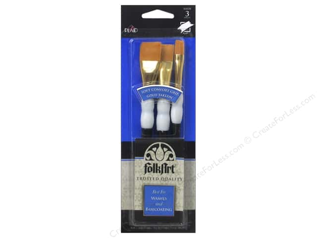 Plaid Tools FolkArt Brush Set Soft Grip Wash 3pc