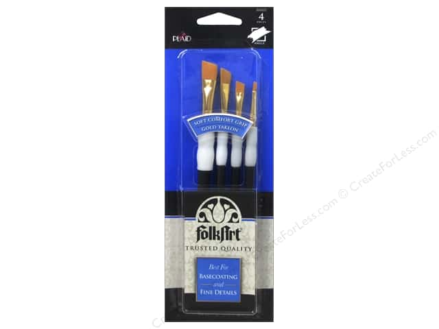 Plaid Tools FolkArt Brush Set Soft Grip Angler 4pc
