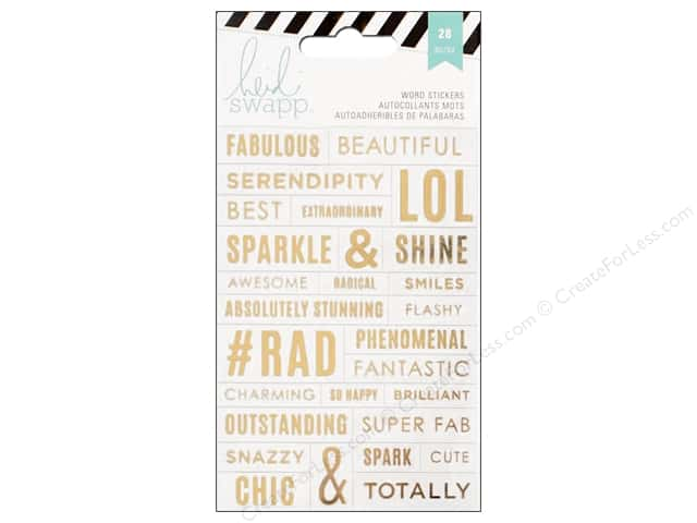 Heidi Swapp Stickers Word Jumbles Clear & Gold