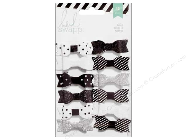 Heidi Swapp Fabric Bows 12 pc. Black & White