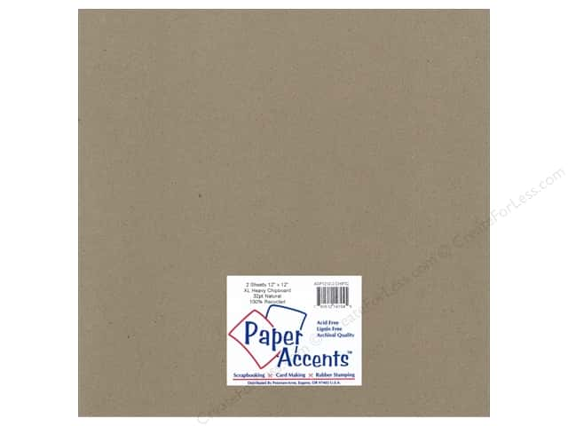 Paper Accents Chipboard 12 x 12 in. 42 pt. XL Heavy Natural 2 pc.