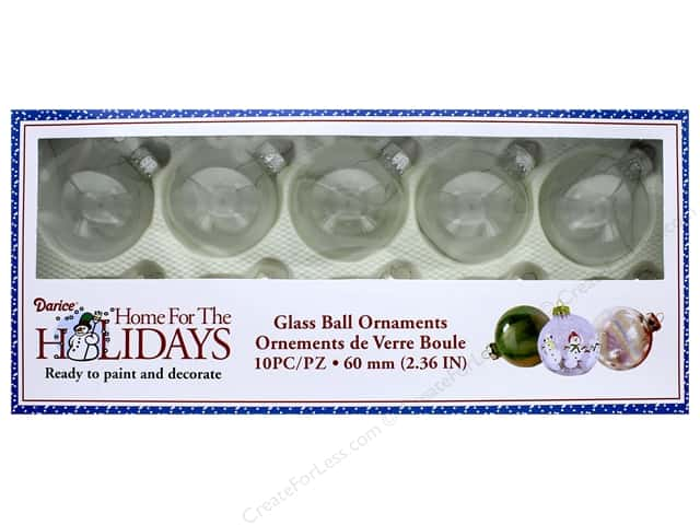 Darice Glass Ball Ornaments 2 3/8 in. 10 pc.