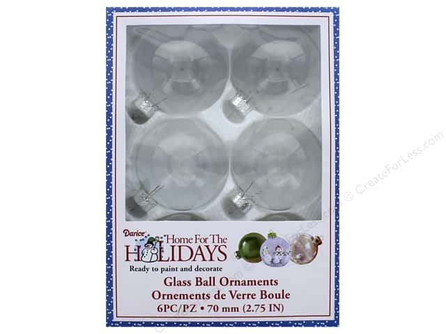 Darice Glass Ball Ornaments 2 3/4 in. 6 pc.