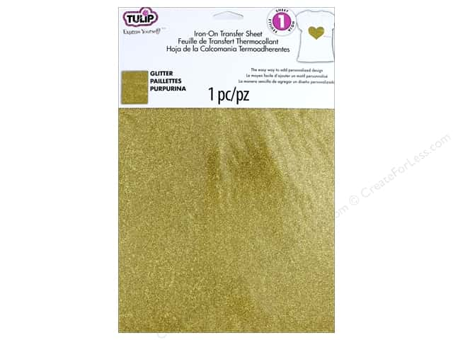 Tulip Iron On Glitter Transfer Sheet 8 1/2 x 11 in. Gold