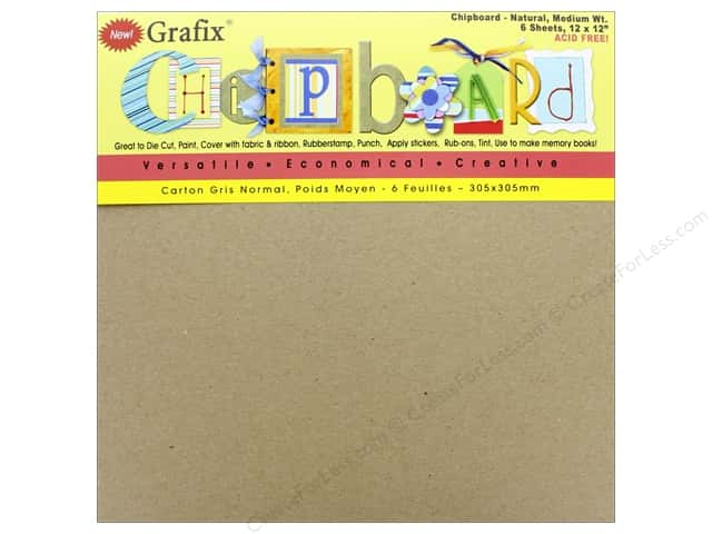 "Grafix Chipboard Medium Weight 12""x 12"" Natural 6pc"