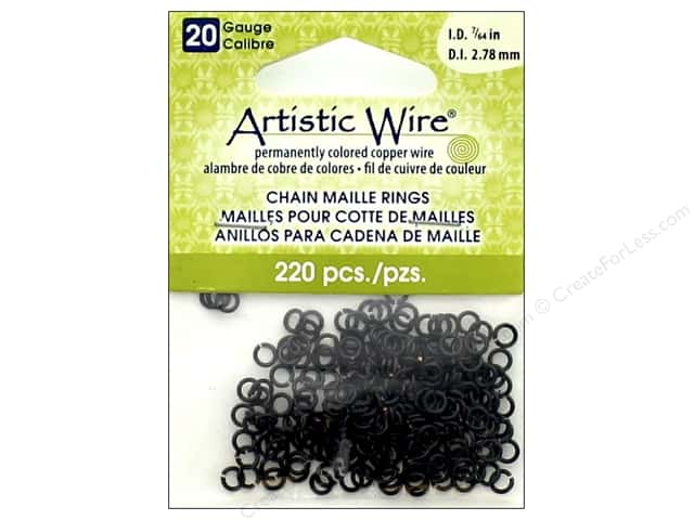Artistic Wire Chain Maille Jump Rings 20 ga. 7/64 in. Black 220 pc.