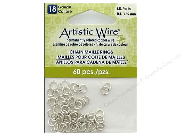 Artistic Wire Chain Maille Jump Rings 18 ga. 5/32 in. Silver 60 pc.