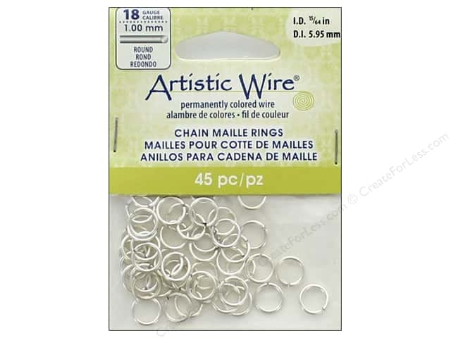 Artistic Wire Chain Maille Jump Rings 18 ga. 15/64 in. Silver 45 pc.