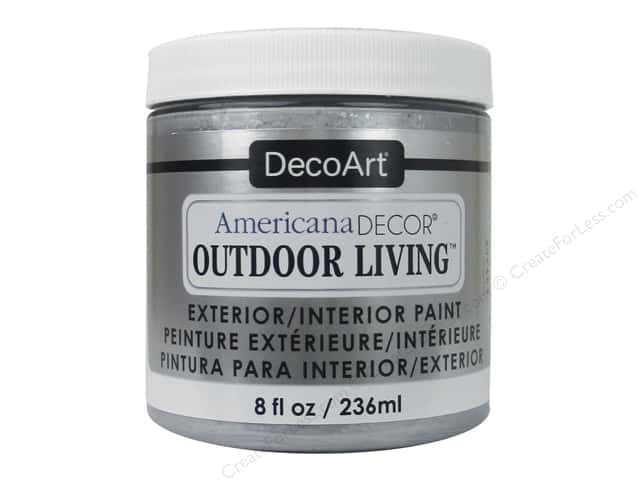 DecoArt Americana Decor Outdoor Living Exterior/Interior Paint 8 oz. Metallic Silver