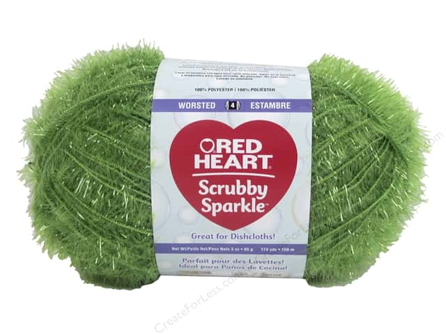Red Heart Scrubby Yarn #8690 Sparkle Avocado 174 yds.