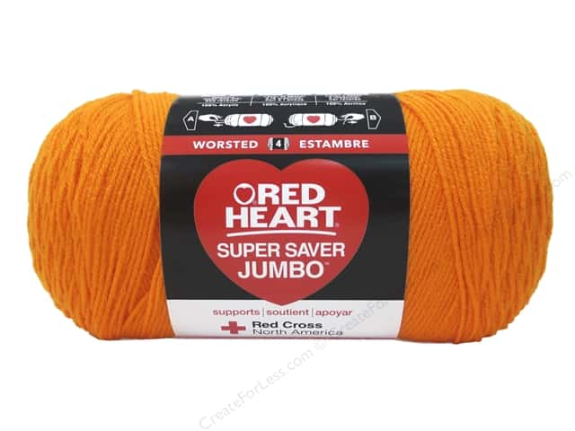 Red Heart Super Saver Jumbo Yarn #0254 Pumpkin 744 yd.