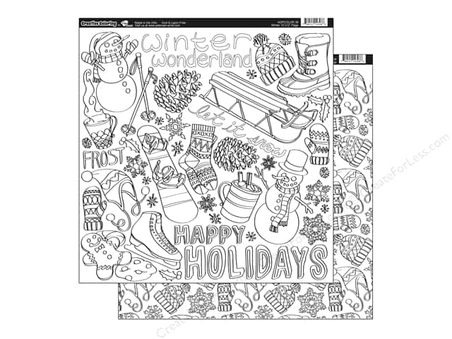 Paper Accents Creative Coloring Paper 12 x 12 in. Winter (15 sheets)