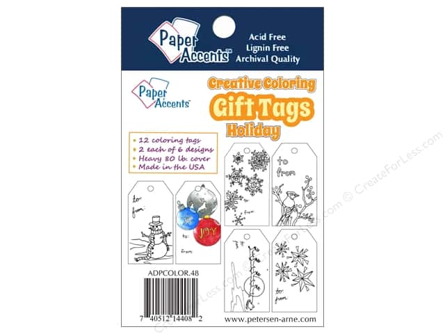 Paper Accents Creative Coloring Tags 2 x 3 3/4 in. 12 pc. Holiday