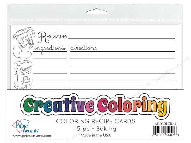 Paper Accents Creative Coloring Recipe Cards 15 pc. Baking