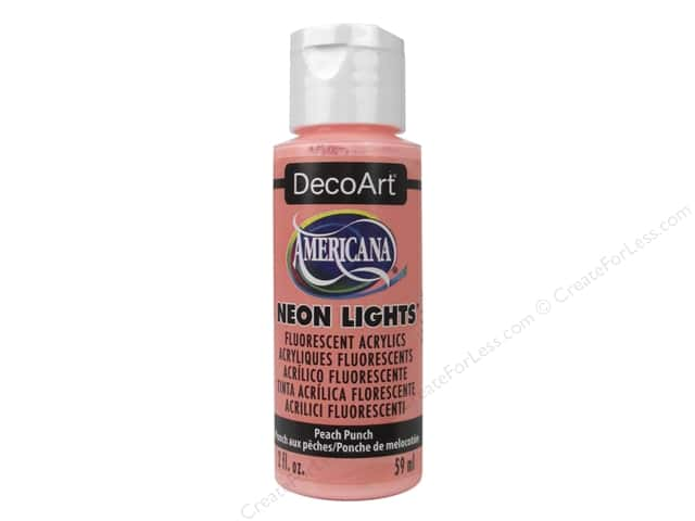 DecoArt Americana Acrylic Paint Neon Lights 2oz Peach Punch