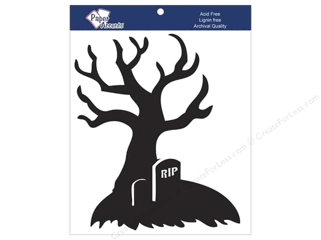 Paper Accents Chipboard Shape 7 in. RIP Tree 4 pc. Black