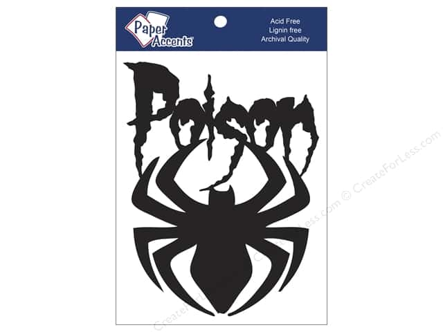 Paper Accents Chipboard Shape Poison Spider 4 pc. Black