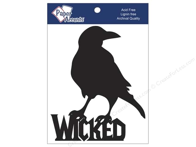 Paper Accents Chipboard Shape Wicked Crow 4 pc. Black