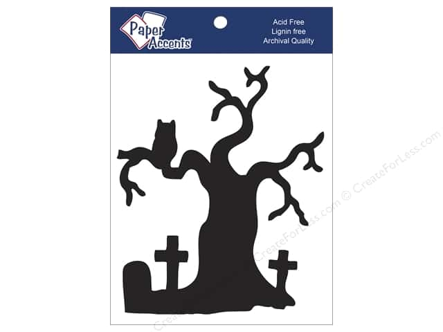 Paper Accents Chipboard Shape Graveyard Tree 4 pc. Black