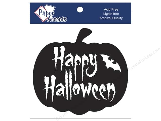 Paper Accents Chipboard Shape Happy Halloween Pumpkin 4 pc. Black