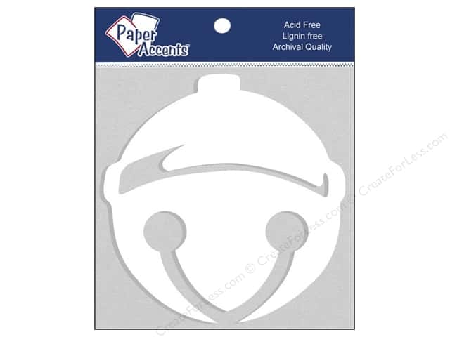 Paper Accents Chipboard Shape Holiday Bell 4 pc. White