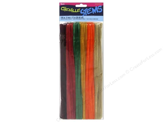 "Darice Chenille Stems 6mm 12"" Fall Assorted 100pc"