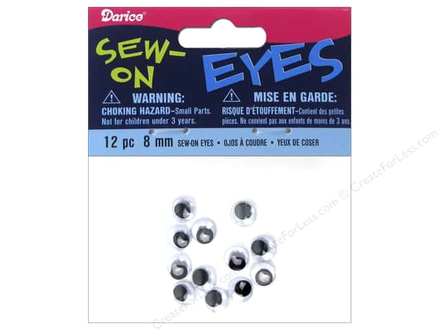 Darice Eyes Sew On Moveable 8mm Black 12pc